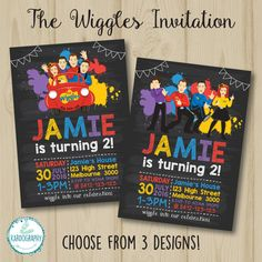 The Wiggles Blackboard / Chalkboard Style by Kardography on Etsy