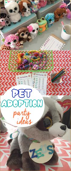 Pet Adoption Party. Fun ideas for a boy or girl birthday party. Adopt a Beanie Boo, squishy, LOL Doll, Squishmallow. These birthday party ideas can be used for you little one's favorite toy.
