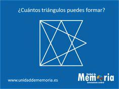 UNIDAD DE MEMORIA.                                    ENTRENAMIENTO CEREBRAL: ¿Cuántos triángulos puedes formar? 4-3-2015 Brain Memory, Brain Gym, Logic Puzzles, Brain Teasers, Teaching English, Memories, Math, How To Get, Math Strategies