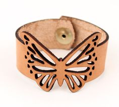 Butterfly Bracelet Leather Cuff Laser Cut | Vegetable Tanned | Handcrafted - Handmade Jewelry | Snap Bracelets |  |