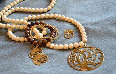 Sautoir perles arbre de vie Babylone plaqué or Rita & Zia