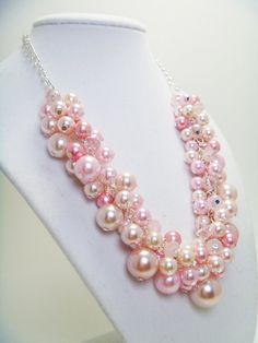 Pink Pearl Cluster Necklace with crystals for weddings by Eienblue