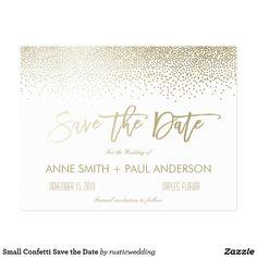 Small Confetti Save the Date Faux Gold Postcard