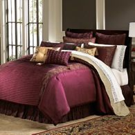 Rich maroon bedding...I love this!