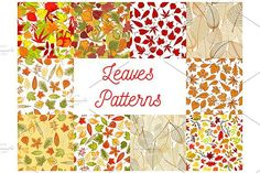 Autumn leaves seamless patterns. Patterns. $8.00
