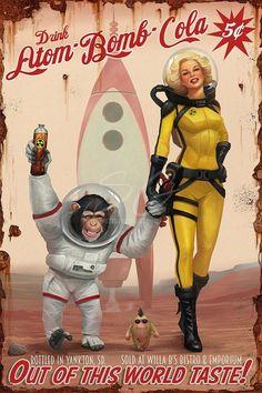 Fallout Art, Fallout Posters, Arte Sci Fi, Sci Fi Art, Vintage Advertisements, Vintage Ads, Comic Cover, Serpieri, Etiquette Vintage