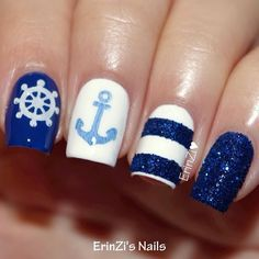 Make an original manicure for Valentine's Day - My Nails Fancy Nails, Love Nails, Pretty Nails, My Nails, Jamberry Nails, Anchor Nail Designs, Nail Art Designs, Fabulous Nails, Perfect Nails