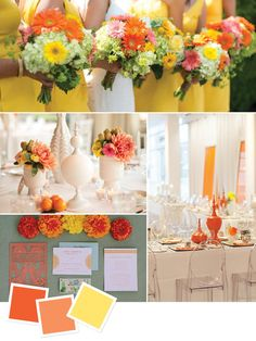 Tangerine + Orange + Yellow | 15 Wedding Color Combos You've Never Seen | https://www.theknot.com/content/wedding-color-inspiration-boards