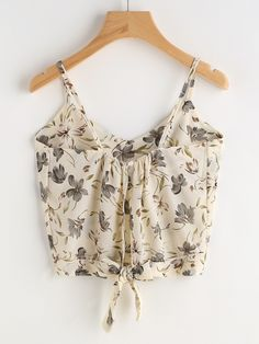 SheInside Calico Print Knot Back Cami Top