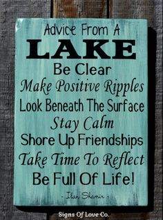 Lake House Home Décor Lake Signs Advice From A Lake Poem Quote Sayings gift Wall Art Housewarming lakeside life living  $3 #lakehouse #decor #lake #sign #advice #froma #Lake #rules