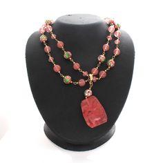 "Cloisonne Goldtone Rose Bead Convertable 44""  Necklace with Enhancer  #jewelryauctionhouse #Beaded"
