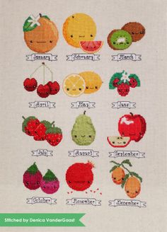 Fruit of the Month Sampler PDF Cross Stitch Pattern