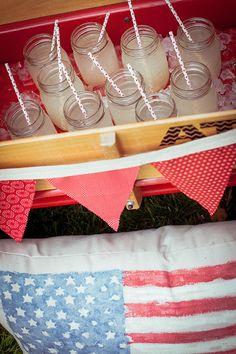 So cute, use a wagon as a drink cooler for those festive parties! http://www.weddingchicks.com/2013/10/08/american-wedding-ideas-2/