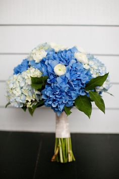 Blue hydrangea for a more dramatic blue and white wedding bouquet.