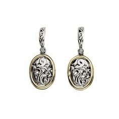Charles Krypell Diamond Oval Scroll Dangle Earrings from James Free Jewelers.