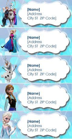 Disney congelado etiqueta de dirección para imprimir