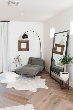 THE LifeStyled CO Carol Way Project master bedroom white cow hide rug modern chaise lounge custom floor mirror floor pillows modern farmhouse white walls organic desert living White Cowhide Rug, Luxurious Bedrooms, Luxury Bedrooms, Master Bedrooms, Luxury Bedding, Master Master, Room Decor Bedroom, Bedroom Mirrors, Diy Bedroom