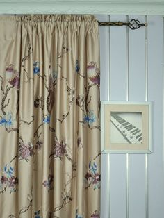120 Inch Extra Wide Morgan Light Apricot Embroidered Branch Faux Silk Curtains | Cheery Curtains | Cheery Curtains: Ready Made and Custom Made Curtains For Less
