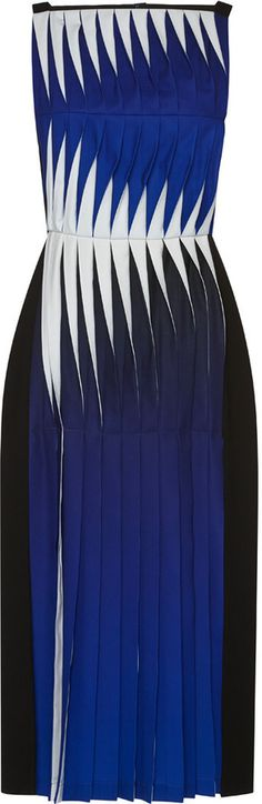 This sleeveless crepe and chiffon **Dion Lee** dress features a high  straight neck, contrast pintucked pleated construction at the bodice and  pintucked ...