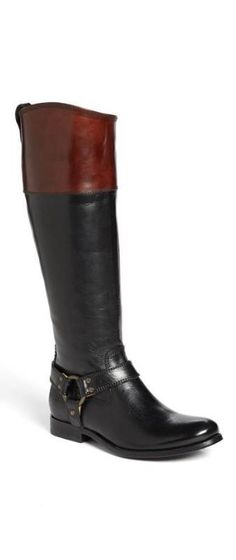 Frye Black & Brown Leather Boot - my favorite boots. Comfy and sleek.