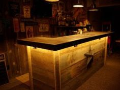 Really like this idea for the lighting on and around the bar. This could be a interesting idea to develop on if using different lights and colours with different styles of bar. Billard Bar, Bar Deco, Built In Bar, Backyard Bar, Patio Bar, Wood Patio, Garage Bar, Man Cave Bar, Bar Areas