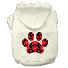Argyle Red Paw Screen Print Pet Hoodie