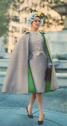 Coats Ladies Home Journal - January, 1961 Gray, tie-belted fitted dress with matching reversible gray and green cape, and blue flowered cap. Vintage Coat, Looks Vintage, Vintage Glamour, Vintage Beauty, 1960s Fashion, Vintage Fashion, Vintage Dresses, Vintage Outfits, Look Retro