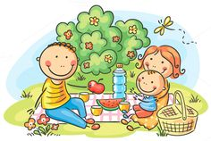 Cartoon family having picnic outdoor by Optimistic Kids Art on Creative Market