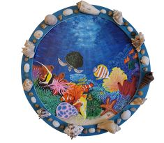 "Coral Reef Framed Painting 12"" Round. Acrylic on canvas board . free shipping , view link for details."