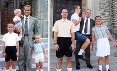 Fratelli posano come nelle foto da bambini: è un regalo per mamma