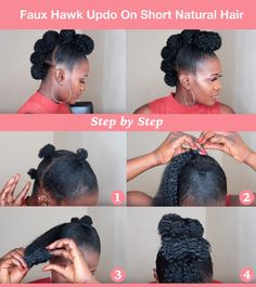 Faux Hawk Updo & short natural hair style Natural hair updos get so much of love because its versatility and its contributions to help naturals to retain length as a protective hairstyle. Below are 6 quick and easy natural updo hairstyles. African Hairstyles, Braided Hairstyles, Wedding Hairstyles, Natural Updo Hairstyles, Black Hairstyles, Hairstyles 2016, Braided Updo, Natural Protective Hairstyles, Ponytail Updo