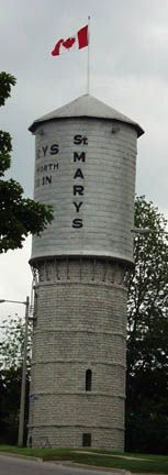 Leaning water tower in St. Mary's, Ontario, Canada