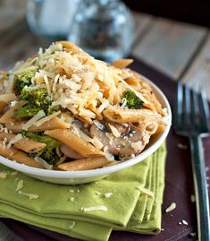 Rustic garlic butter pasta with broccoli and sauteed mushrooms. Yum.