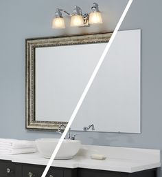 A frame was added directly to the plate glass mirror, while on the wall - all in a matter of minutes. The DIY frame from MirrorMate is shown in the Grandezza style. #frameyourmirror