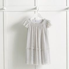 Girls' Smocked Tulle Dress - Pale Grey | The White Company