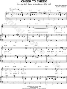 Cheek to Cheek #sheetmusic as recorded by #EllaFitzgerald arranged for #Piano #Vocal #Guitar #Singer Pro#F Major #transposable #musicnotes #affiliate #jazz #jazzsheetmusic