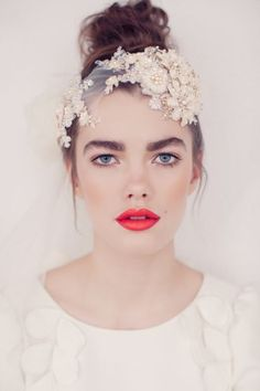 Jannie Baltzer bridal headpiece | Honor Dress + one glowing RED lip!