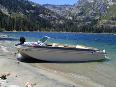 In the 60's, one of the finest ski boats available:  An Evinrude Rogue 200 inboard/outboard 20 footer.