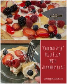 "Super Easy ""Chicago-Style"" Fruit Pizza with Strawberry Glaze - @Meagan Francis for @Marzetti Kitchens #EverydayMarzetti #spon"