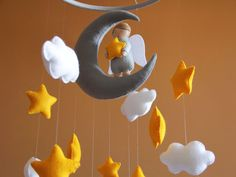 Baby mobile clouds Yellow and gray nursery decor by FeltBabyCorner