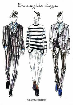 Ermenegildo Zegna Menswear Spring Fashion Illustration by Doryanna Popa. Illustration Mode, Fashion Illustration Sketches, Fashion Sketchbook, Fashion Design Portfolio, Fashion Design Sketches, Mens Fashion Sweaters, Fashion Figures, Fashion Art, Menswear