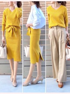 AZULENCANTOさん春の新作✨ セットアップ対応のニットとスカートを 着用させていただきました Office Fashion, Work Fashion, Fashion Pants, Spring Fashion, Winter Fashion, Fashion Outfits, Womens Fashion, Fashion Design, Paar Style