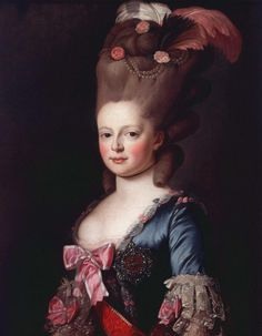 Portrait of Sophie Marie Dorothea Auguste Louise of Württemberg aka Maria Feodorovna of Russia, second wife of Grand Duke Paul Pavlovich Romanov aka Emperor Paul I of Russia by Alexander 18th Century Wigs, 18th Century Costume, 17th Century, Maria Feodorovna, Friedrich Ii, Chin Length Hair, Rococo Fashion, 18th Century Fashion, Historical Costume
