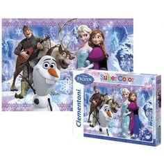 Frozen puzzel 104 stukjes. Met afbeelding van Anna, Elsa, Olaf, Sven en Kristof uit de Disney film Frozen. Voor kinderen vanaf 6 jaar.