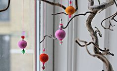Felt balls with bead finials