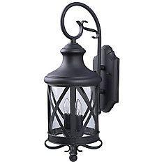 Mason 2 Light Black Wall Lantern, Seeded Glass