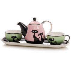 Cups and teapot set. Pink, green, cat motif. Via My Glass House: I Am So English?