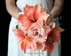 Silk Wedding Flowers Made Affordable Coral Wedding Flowers, Bridal Flowers, Wedding Colors, Wedding Bouquets, Peach Bouquet, Amarillis, Wedding Decorations, Wedding Ideas, Vestidos