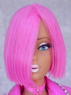 Lily The Pink: Former 'Modern Circle Melody'.Reroot in hot pink saran hair, cut in to an asymmetrical bob.Wide Eyed Girls - One-Of-A-Kind (OOAK) Fashion Dolls by Dan Lee Bad Barbie, Barbie And Ken, Pink Barbie, Beautiful Barbie Dolls, Vintage Barbie Dolls, Neon Hair, Pink Hair, Pink Images, Pink Lingerie