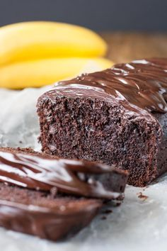 Easy, one-bowl Triple Chocolate Banana Bread. Loaded with chocolate chips and topped with a dark chocolate ganache.